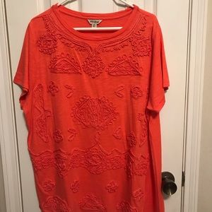 Lucky Brand orange embroidered woman's top 2X NWT